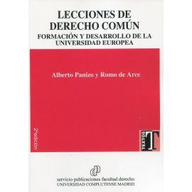 Lecciones de derecho común. Formación y desarrollo de la universidad europea