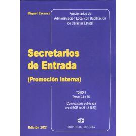 Secretarios de Entrada (Promoción interna) 2 Vol. 2021. Temas 1 al 65 Convocatoria publicada en el BOE de 21.12.2020