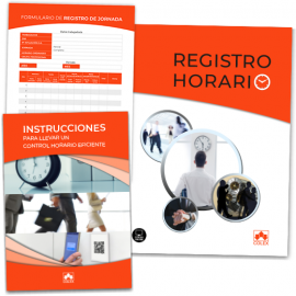 Registro horario. Carpeta + Instrucciones + Hojas registro.                                          Lleve cómodamente el registro horario de los empleados en su empresa